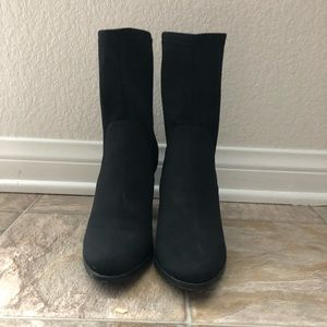 BLACK NYLON SOCK BOOTS